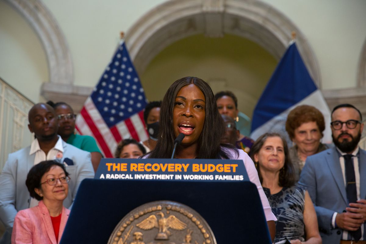 Bronx Councilmember Vanessa Gibson speaks at City Hall about the 2022 budget, June 30, 2021.