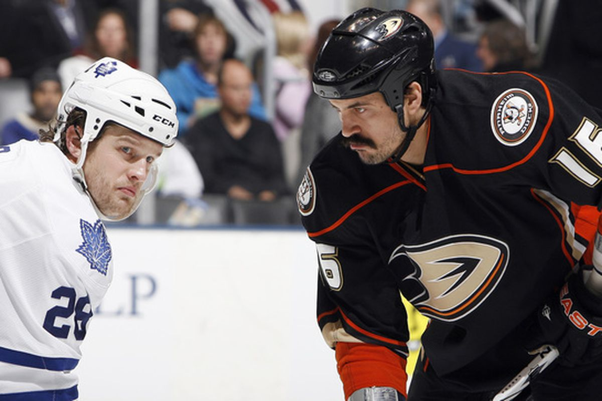 Colton Orr dares not even gaze upon the mightiest mustache in the NHL.