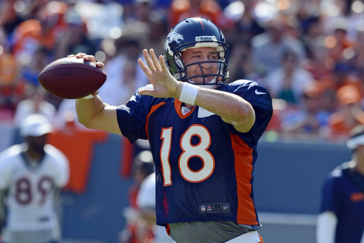 August 4, 2012; Englewood, CO, USA; Denver Broncos quarterback Peyton Manning (18) warms up before the start of during training camp drills at Sports Authority Field. Mandatory Credit: Ron Chenoy-US PRESSWIRE
