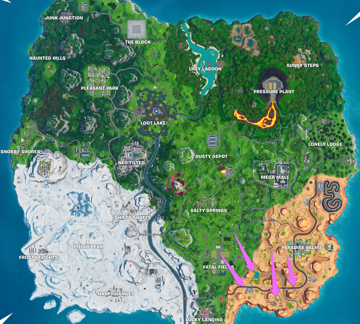 A Fortnite map with the locations of several Vault Symbols marked
