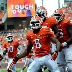 DeAndre Hopkins (6) celebrates a touchdown during the first half of an NCAA college football game against Ball State Saturday, Sept. 8, 2012 at Memorial Stadium in Clemson S.C.