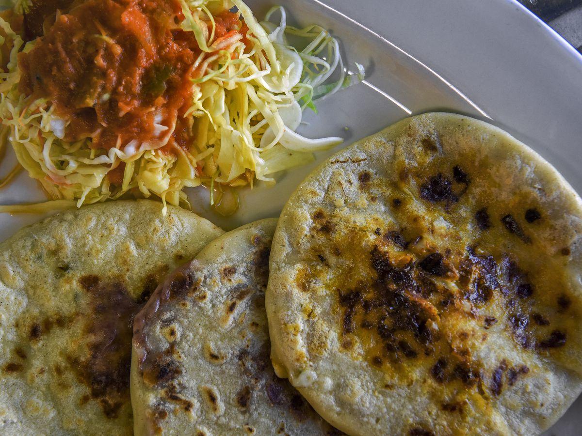 Pupusas and curtido at El Rinconcito Cafe