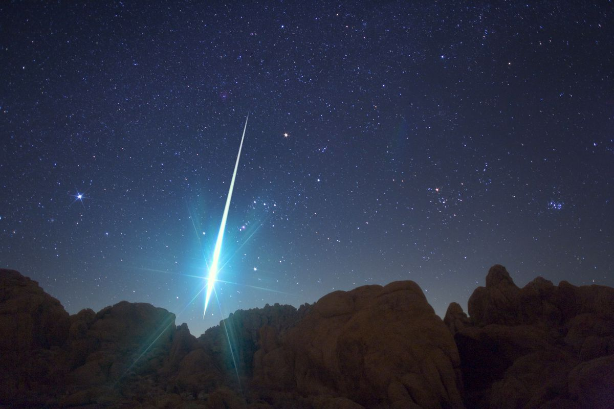 An uncommonly huge meteor photographed during the 2009 Geminid shower from Victorville, California.