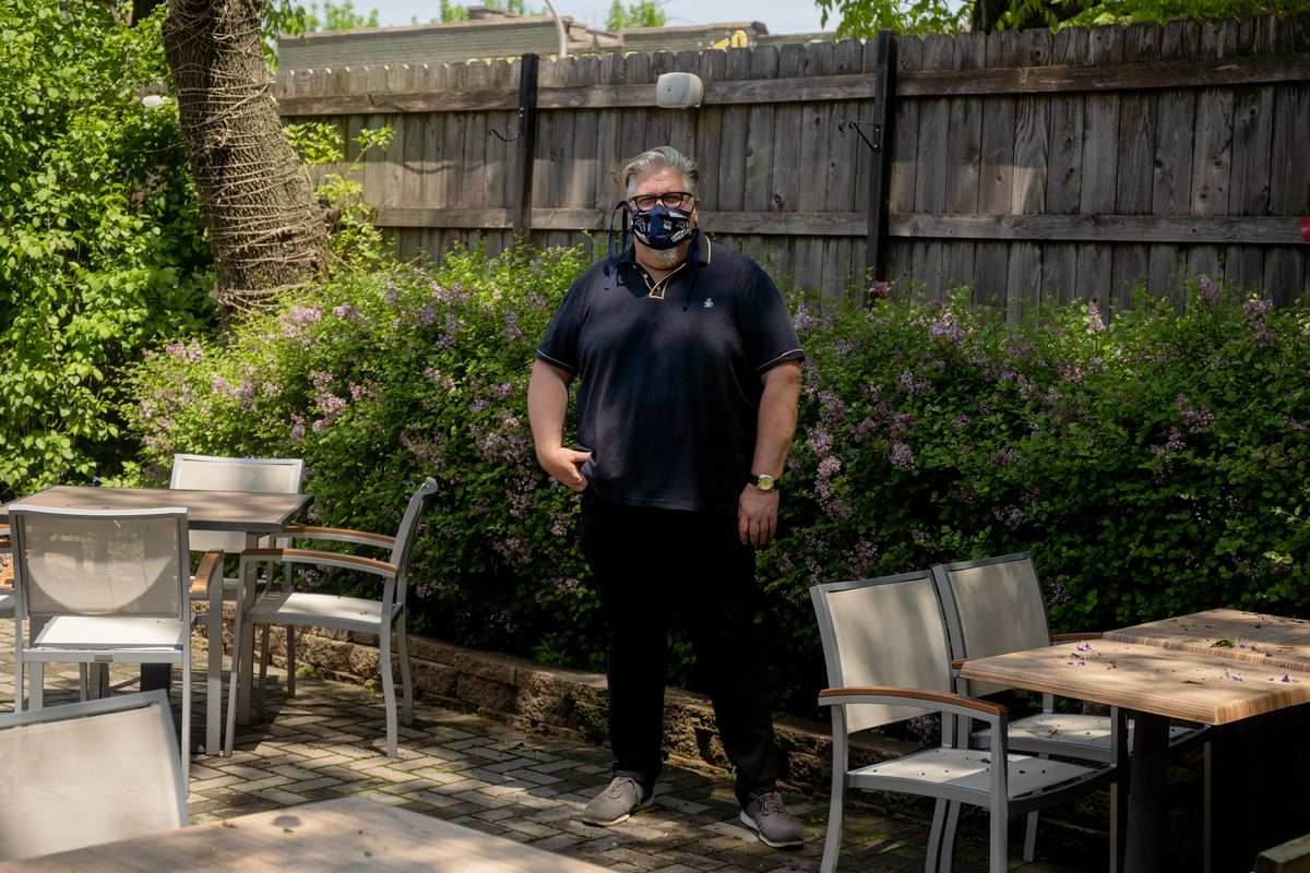 Kevin Hickey, owner of The Duck Inn, on the restaurant's patio.