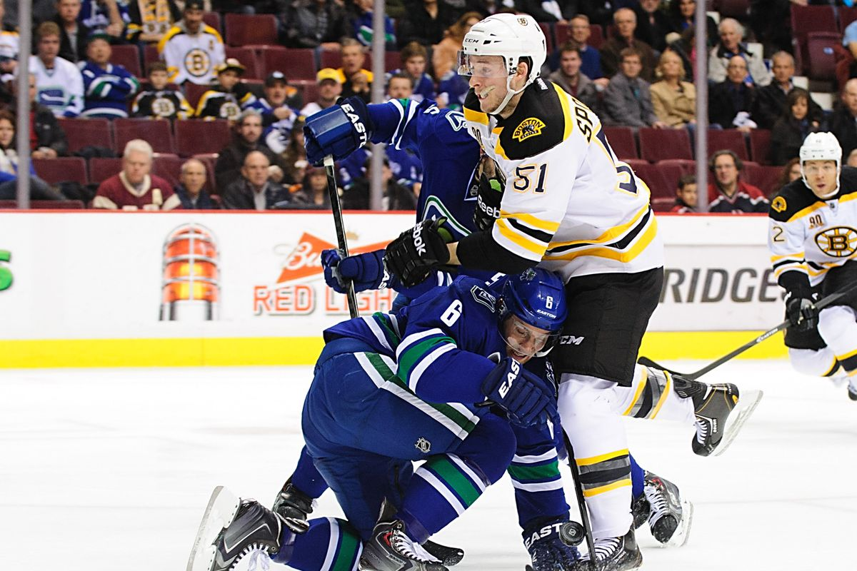 Ryan Spooner practices trust falls with a future teammate