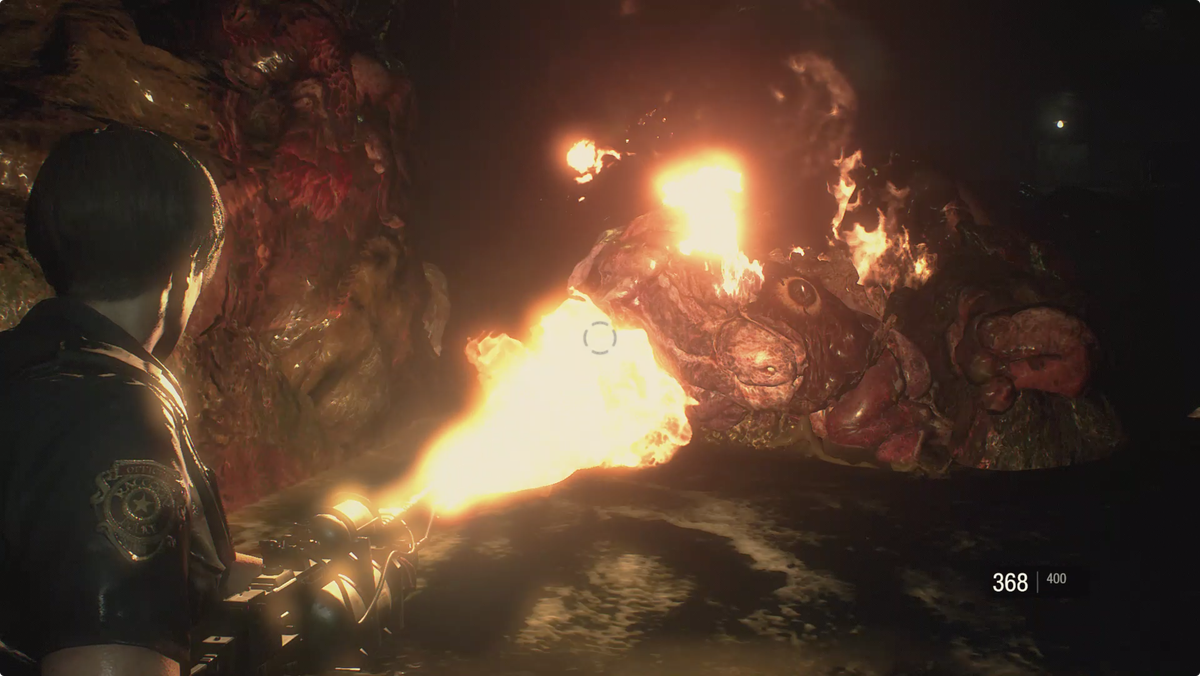 Resident Evil 2Leon fighting a G-Adult with his Chemical Flamethrower
