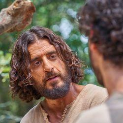 "Jesus Christ (Jonathan Roumie) films a scene of ""The Chosen."""