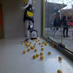 Lemons on the floor.