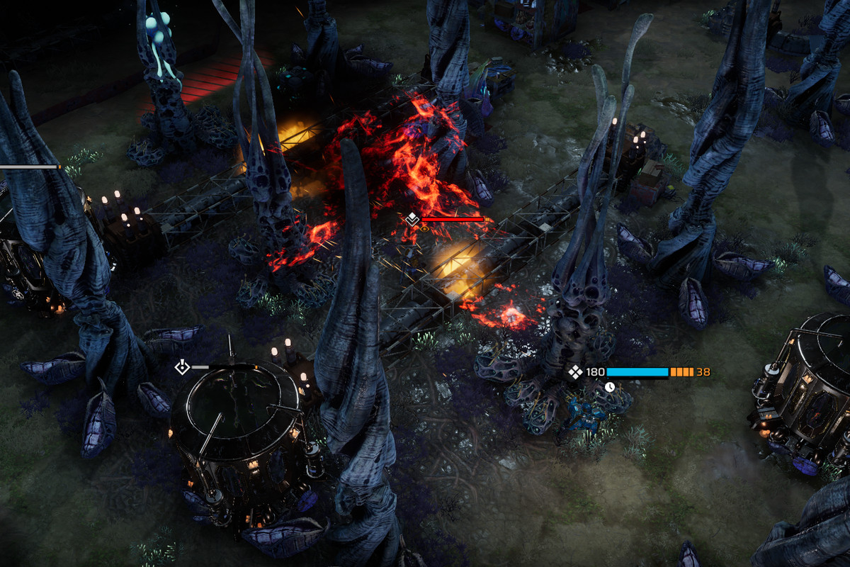 A flamethrower goes off during a tactical battle in Phoenix Point.