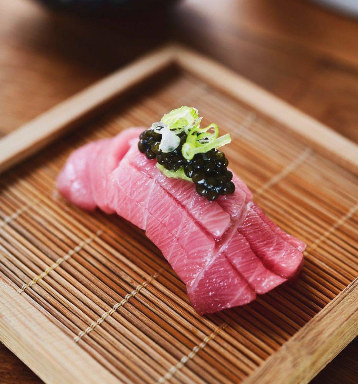 A sushi piece from Sushi Bar ATX