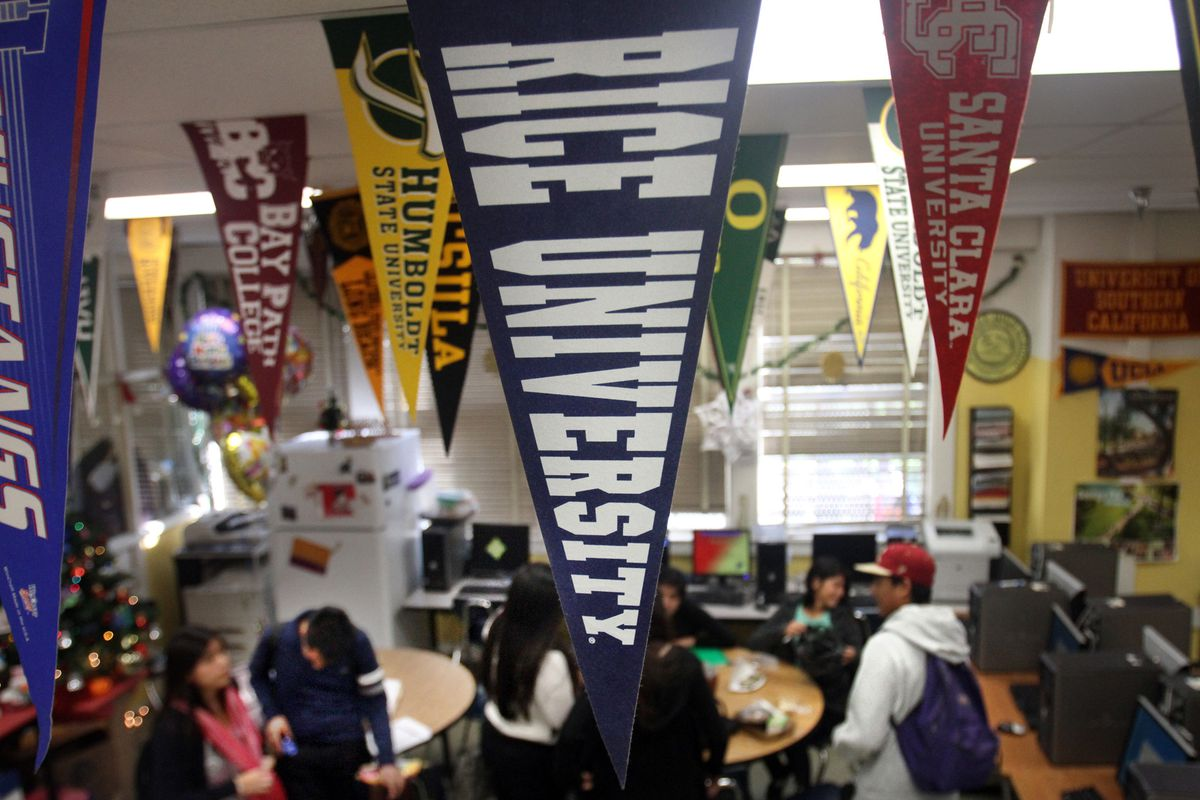 Students gather in College counselor Teresa Carreto's room at Roosevelt High which got many fewer c