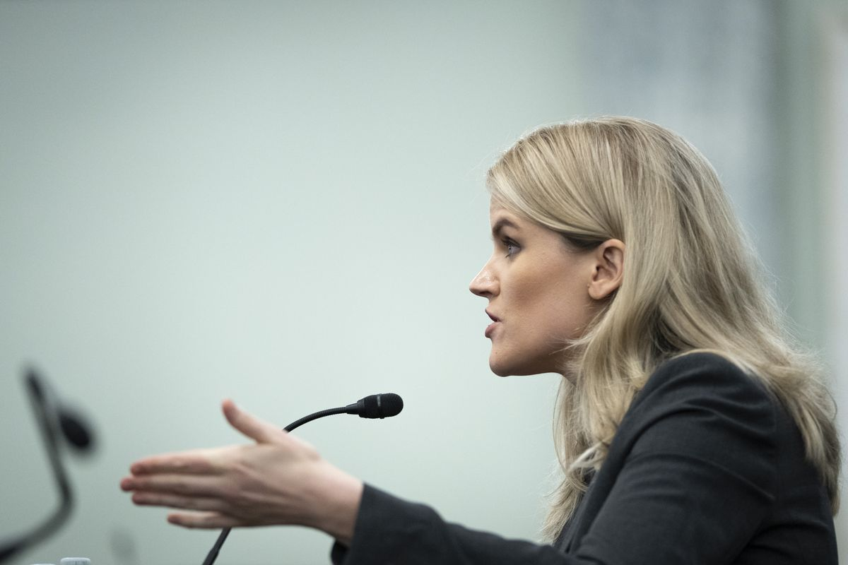 Former Facebook employee and whistleblower Frances Haugen testifies during a Senate hearing on Capitol Hill on Tuesday.