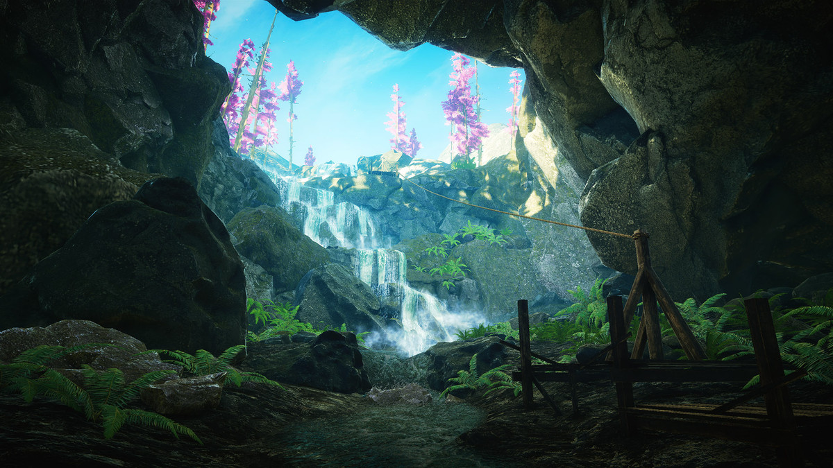 A cave and waterfall