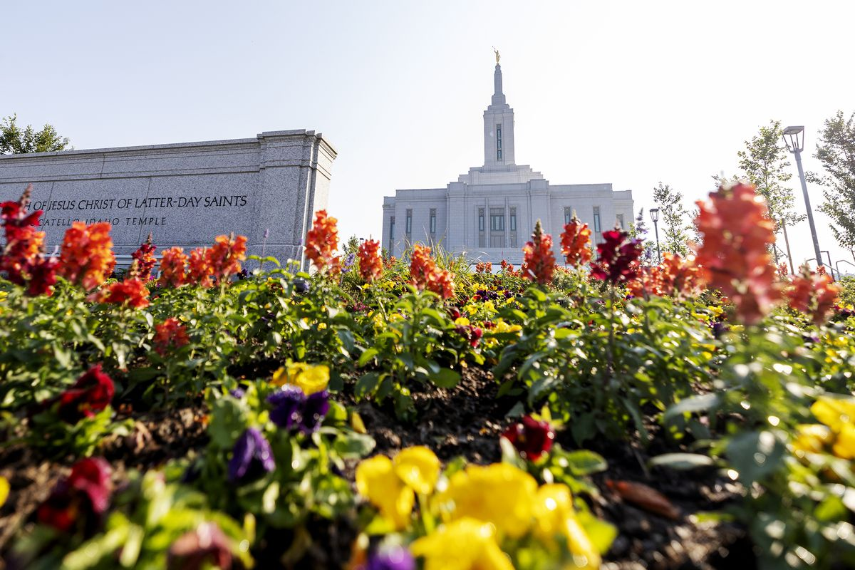 Colorful flowers greet visits outside the Pocatello Idaho Temple.