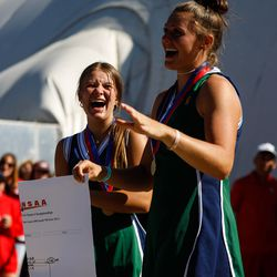 Green Canyon students reacts during a trophy ceremony for the 4A girls singles tennis state tournament at Liberty Park Tennis Center in Salt Lake City on Saturday, Oct. 2, 2021.