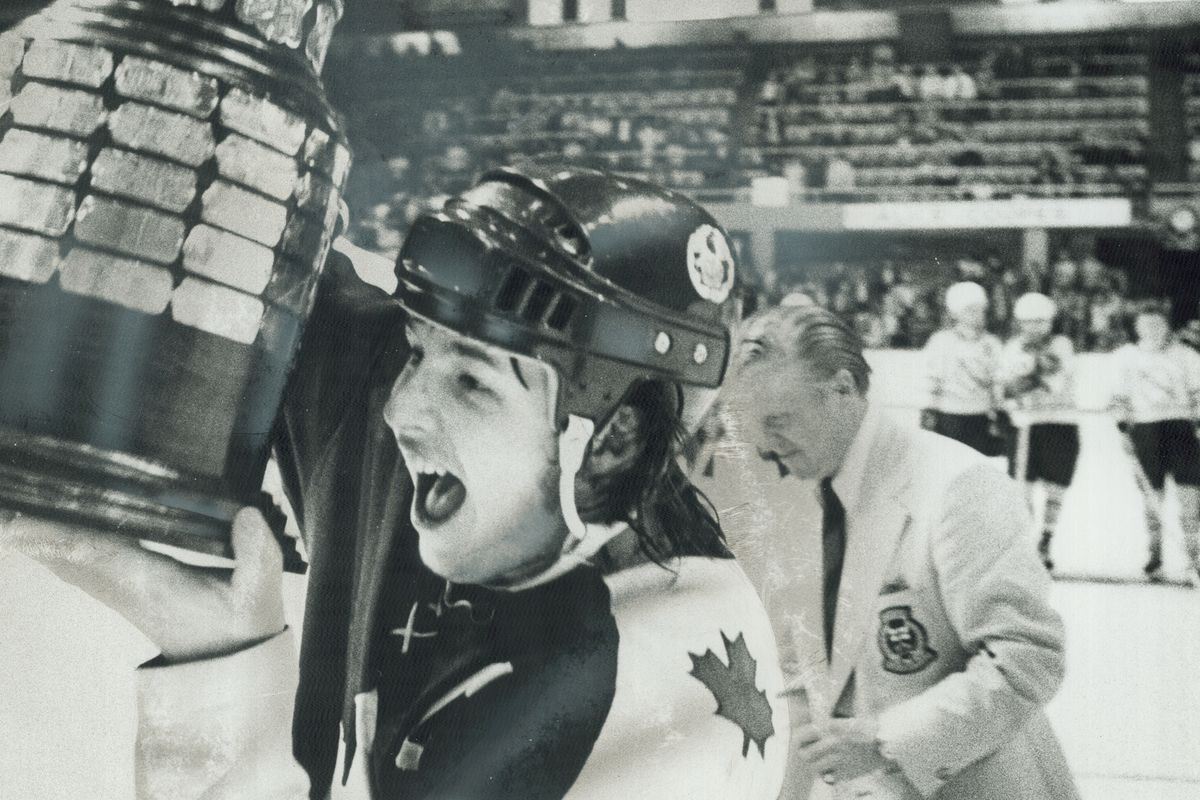 Happiness is a trophy: Marlies' captain Bruce Boudreau has good reason to whoop it up. After long st