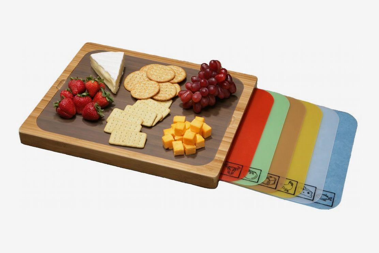 A bamboo cutting board with 7 flexible cutting mats
