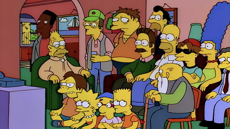 A huge group of characters from The Simpsons