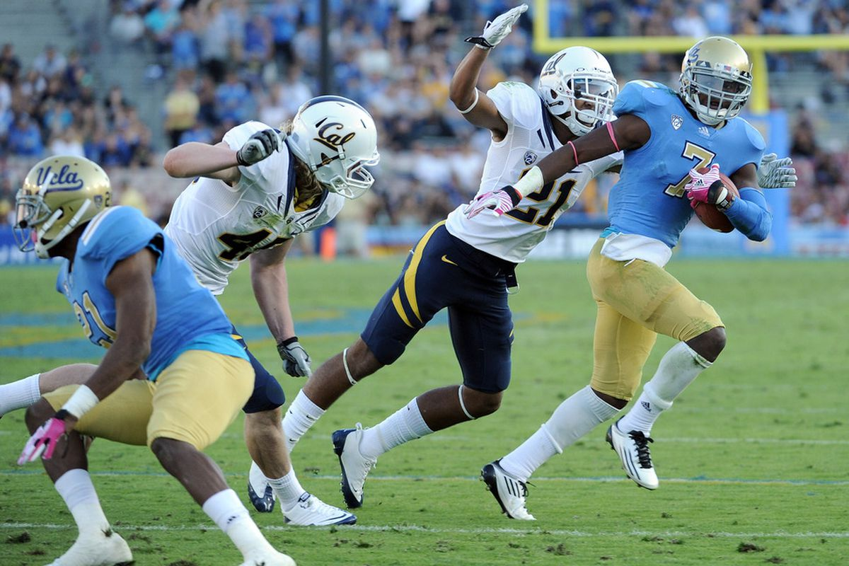 No. 7 will be repping the Bruin Blue and Gold at the 2012 Pac-12 Media Day.  (Photo by Harry How/Getty Images)