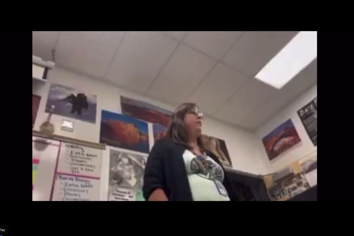 A Lehi High School teacher is seen in a video of her sharing her political beliefs that circulated on social media.