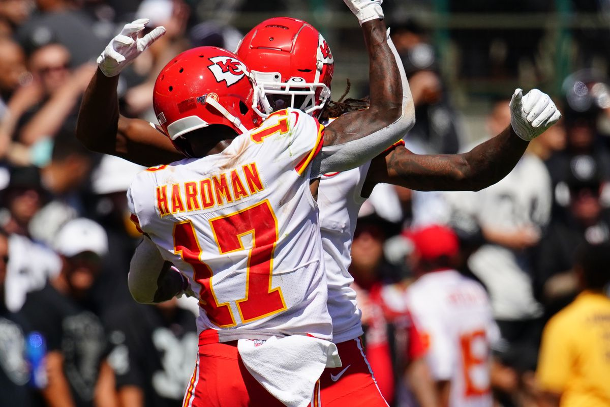 Demarcus Robinson of the Kansas City Chiefs celebrates a touchdown with Mecole Hardman during the second quarter against the Oakland Raiders at RingCentral Coliseum on September 15, 2019 in Oakland, California.