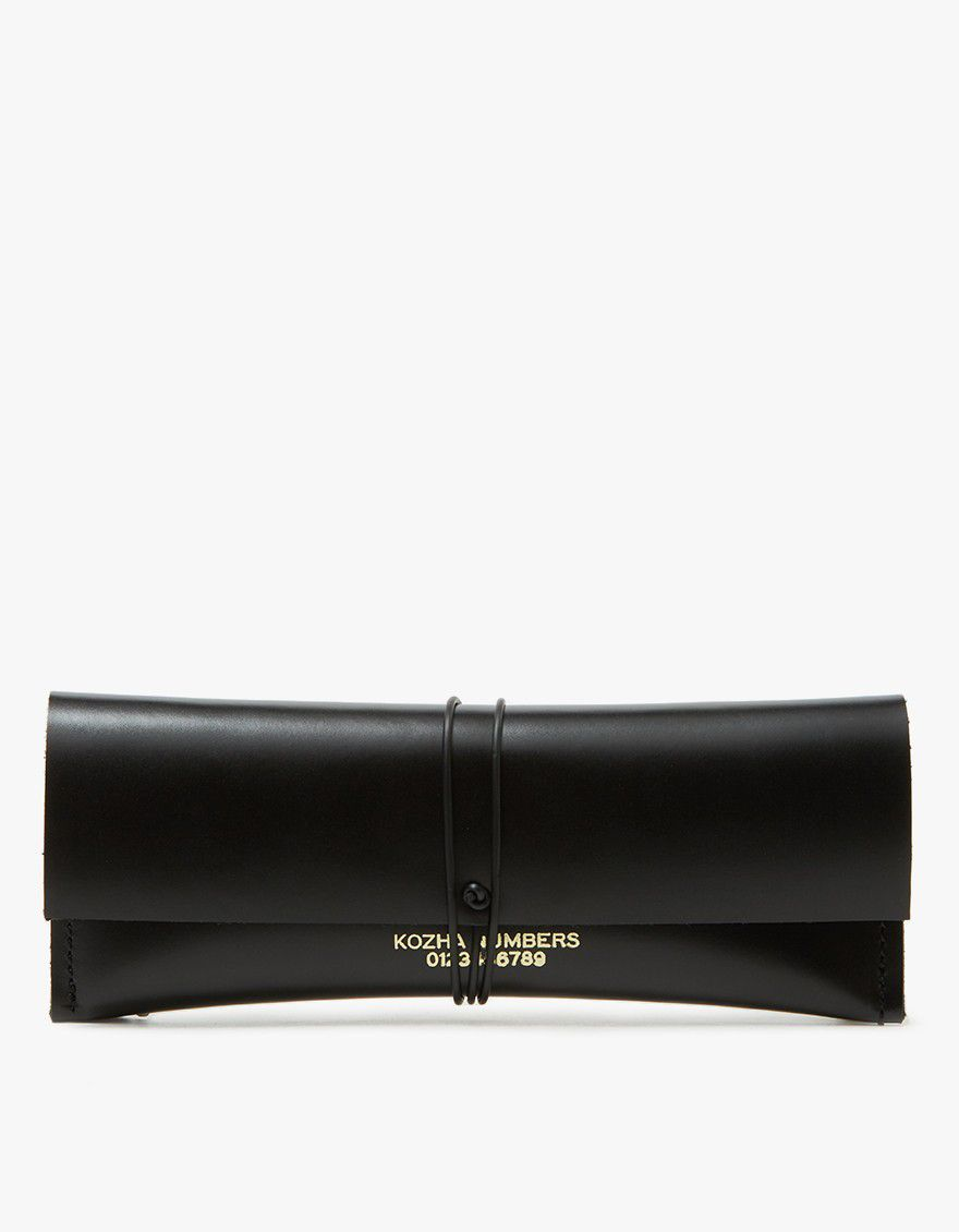 Black leather cash clutch.
