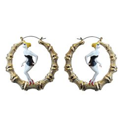 Melody Eshani also teamed up with Joyrich to create these enamel-style bamboo hoops with a pin-up girl.