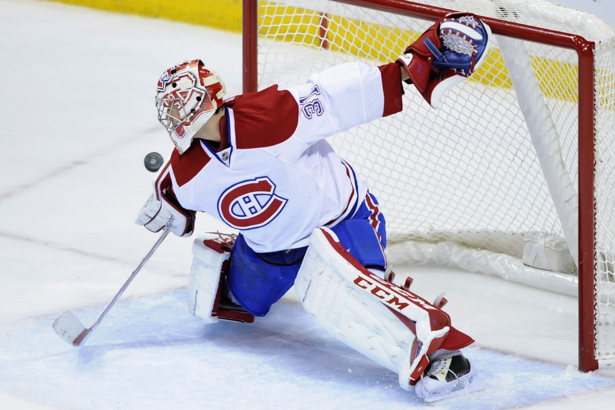 Carey Price practices Lehner's technique of staring down the puck