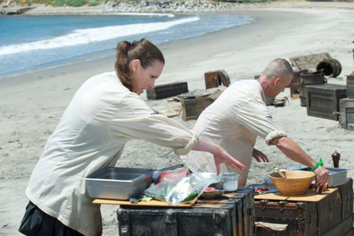Chef Meg Hall and Chef Rajaduring express challenge as seen on Food Network's Extreme Chef Challenge Season 1