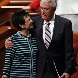 President Dieter Uchtdorf and his wife Harriet Reich Uchtdorf leave the afternoon session of the 182nd Annual General Conference for The Church of Jesus Christ of Latter-day Saints at the LDS Conference Center in Salt Lake City on Saturday, March 31, 2012.