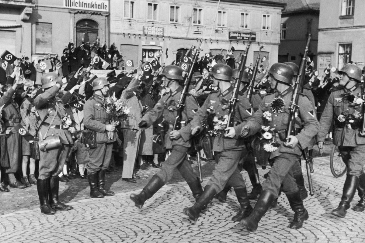 A 1938 photo of Nazis, some of whom later found comfortable retirement in the United States.