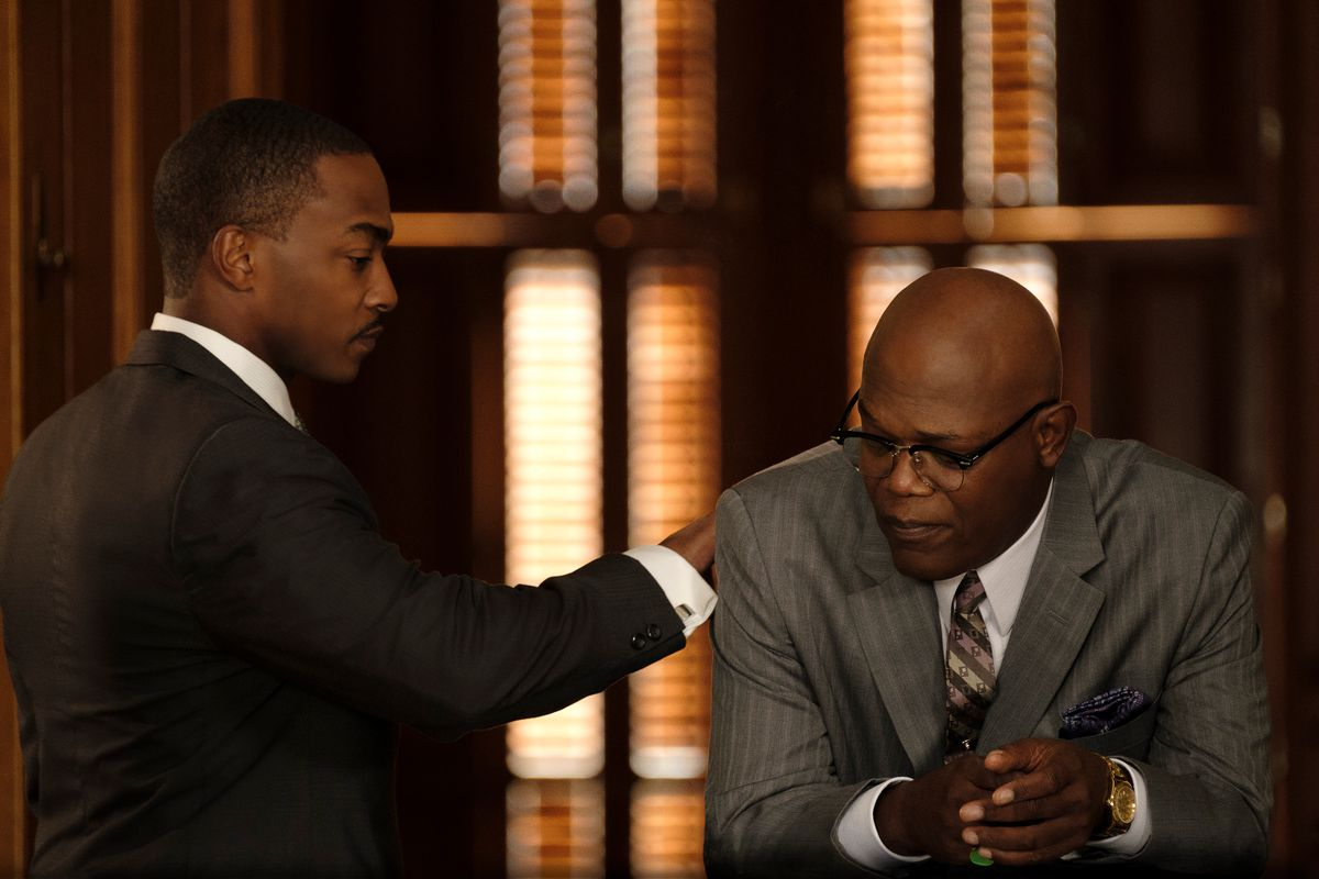 """Anthony Mackie (left) and Samuel L. Jackson in """"The Banker."""""""