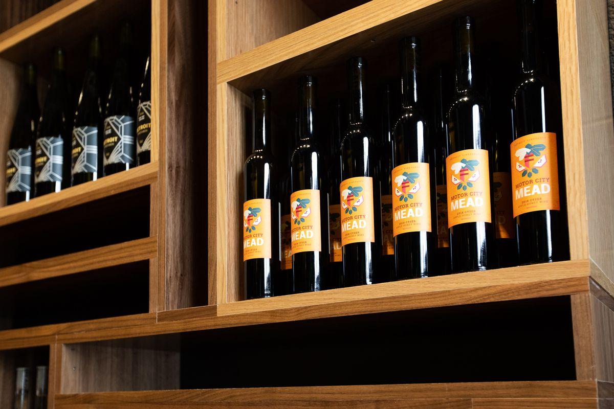 Wine bottles on display at Detroit Vineyards.