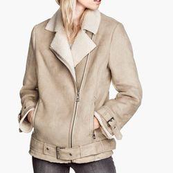 "<b>H&M</b> Biker Jacket in Beige, <a href=""http://www.hm.com/us/product/15931?article=15931-A"">$79.95</a>"