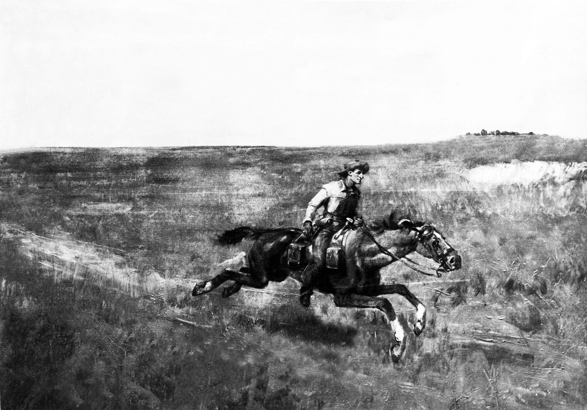 A pony express rider speeds across the country.