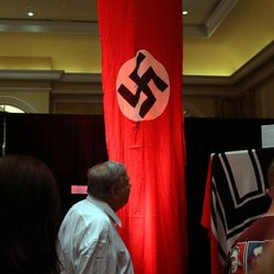 A flag that was flown in Nuremberg, Germany is on display at the Independence Through History Museum in the Grand America in Salt Lake City on Friday, July 5, 2013. This is the first time the flag has been on display since World War II.