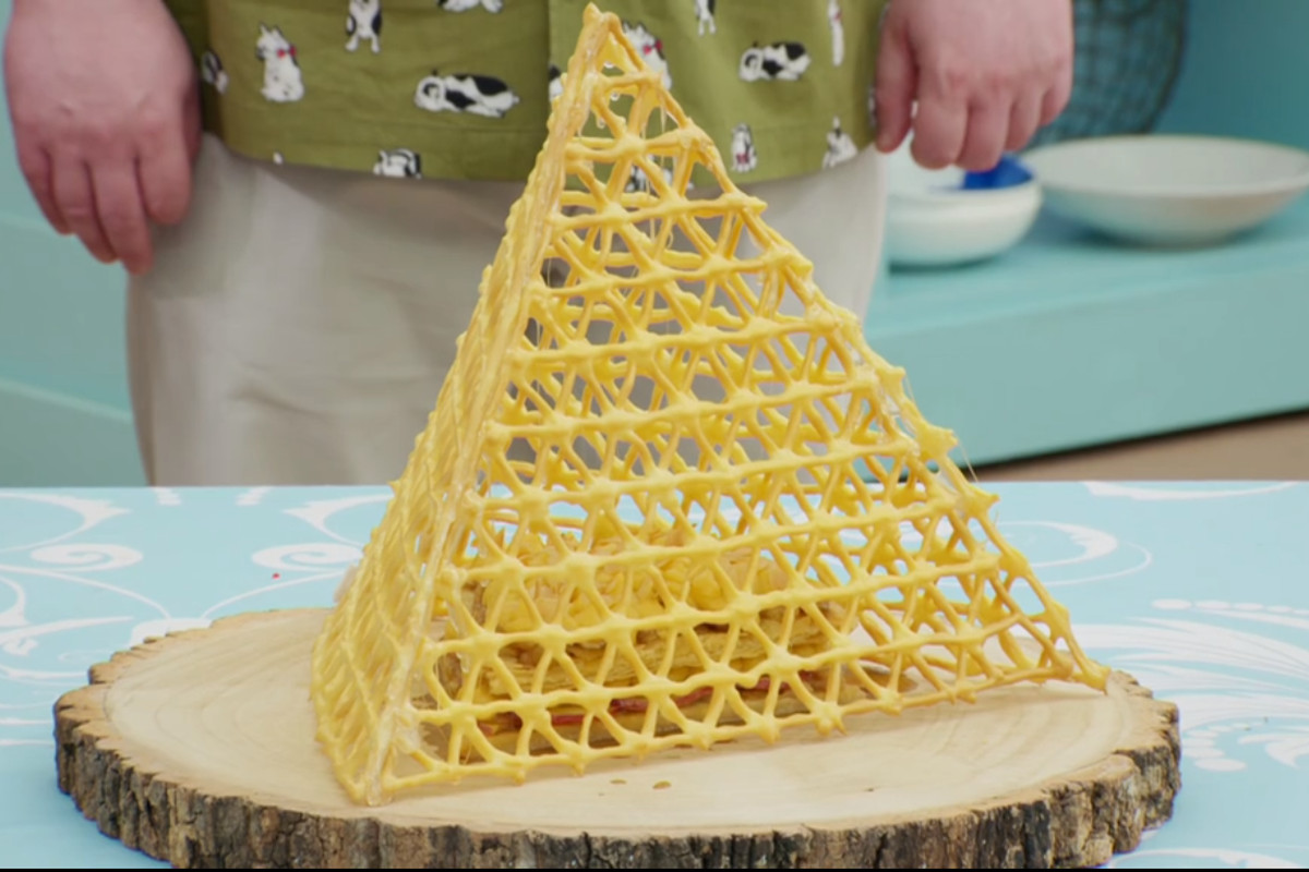 A triangular pastry lattice cage on Great British Bake Off Pastry Week 2020