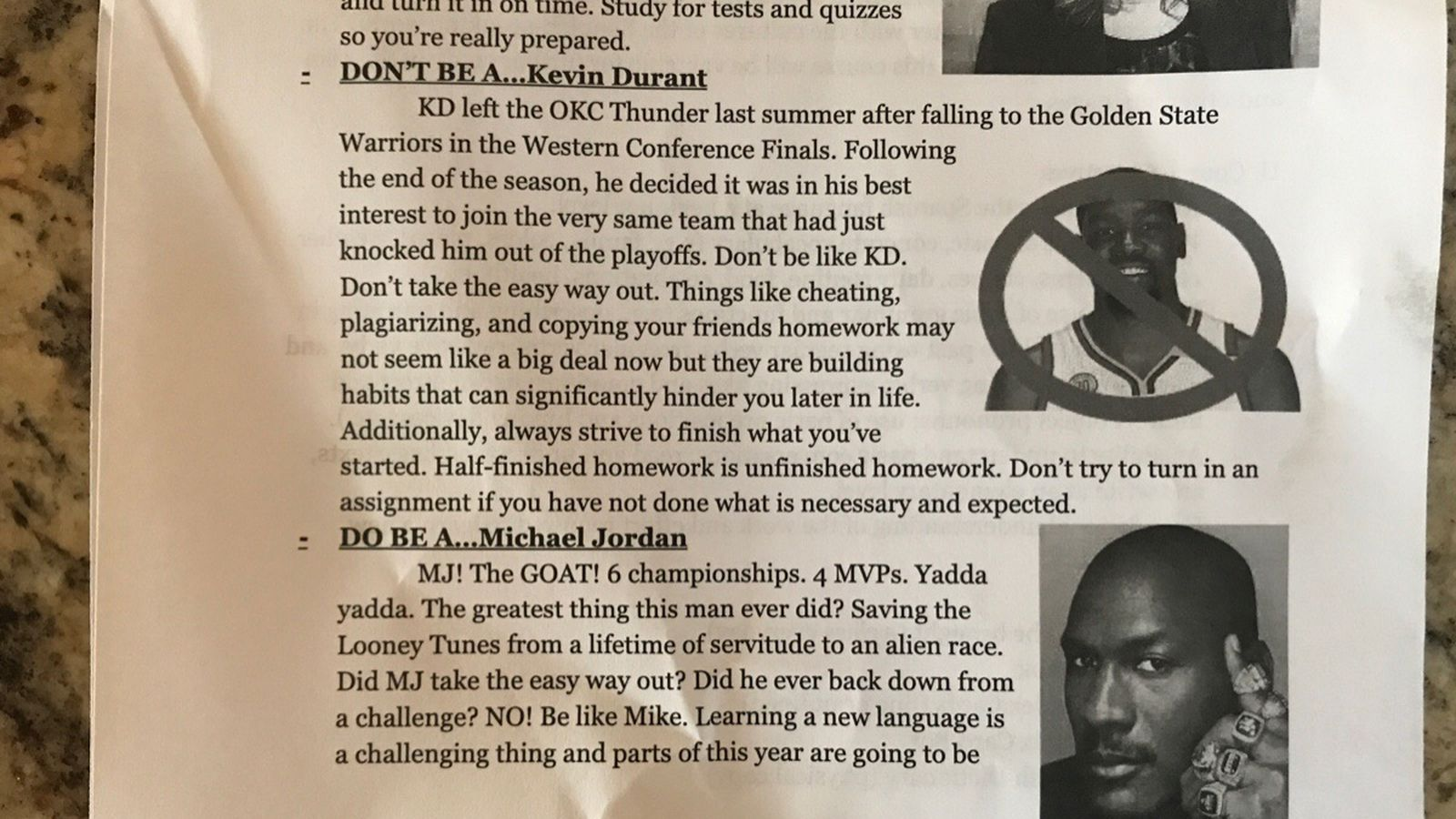 Teacher used handout to tell students to be like Michael Jordan, not Kevin Durant