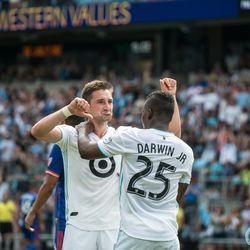 June 29, 2019 - Saint Paul, Minnesota, United States - Ethan Finlay and Darwin Quintero celebrate a goal during an MLS match between Minnesota United FC and FC Cincinnati at Allianz Field