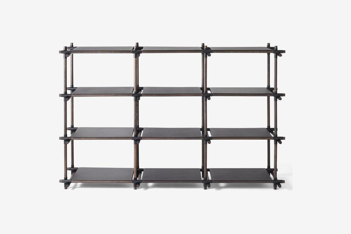 Black metal grid shelf.