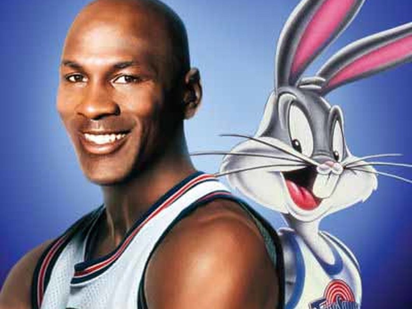 Michael Jordan and Bugs Bunny on the poster for Space Jam.