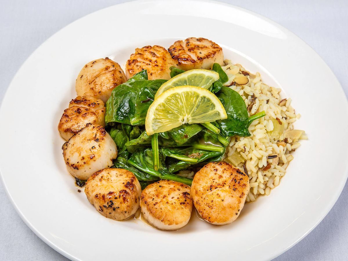 Pan Seared Scallops With Sauteed Spinach And Brown Er Sauce At Nags Head Standby Owens Official Photo