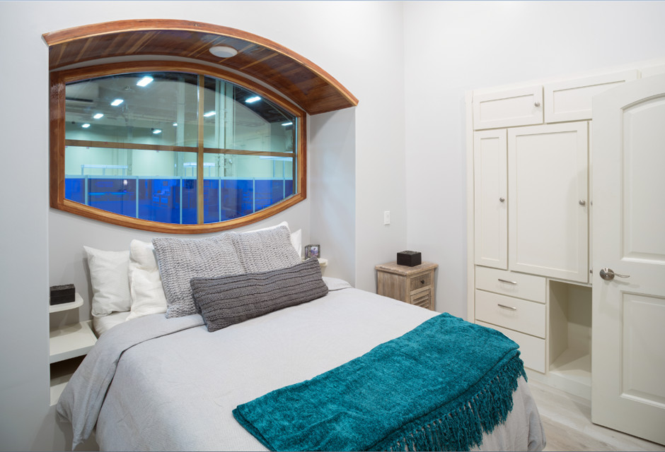 A bedroom. There is a large bed with light grey bed linens and a blue throw blanket. There is a window over the bed. The cabinets and walls are painted white.