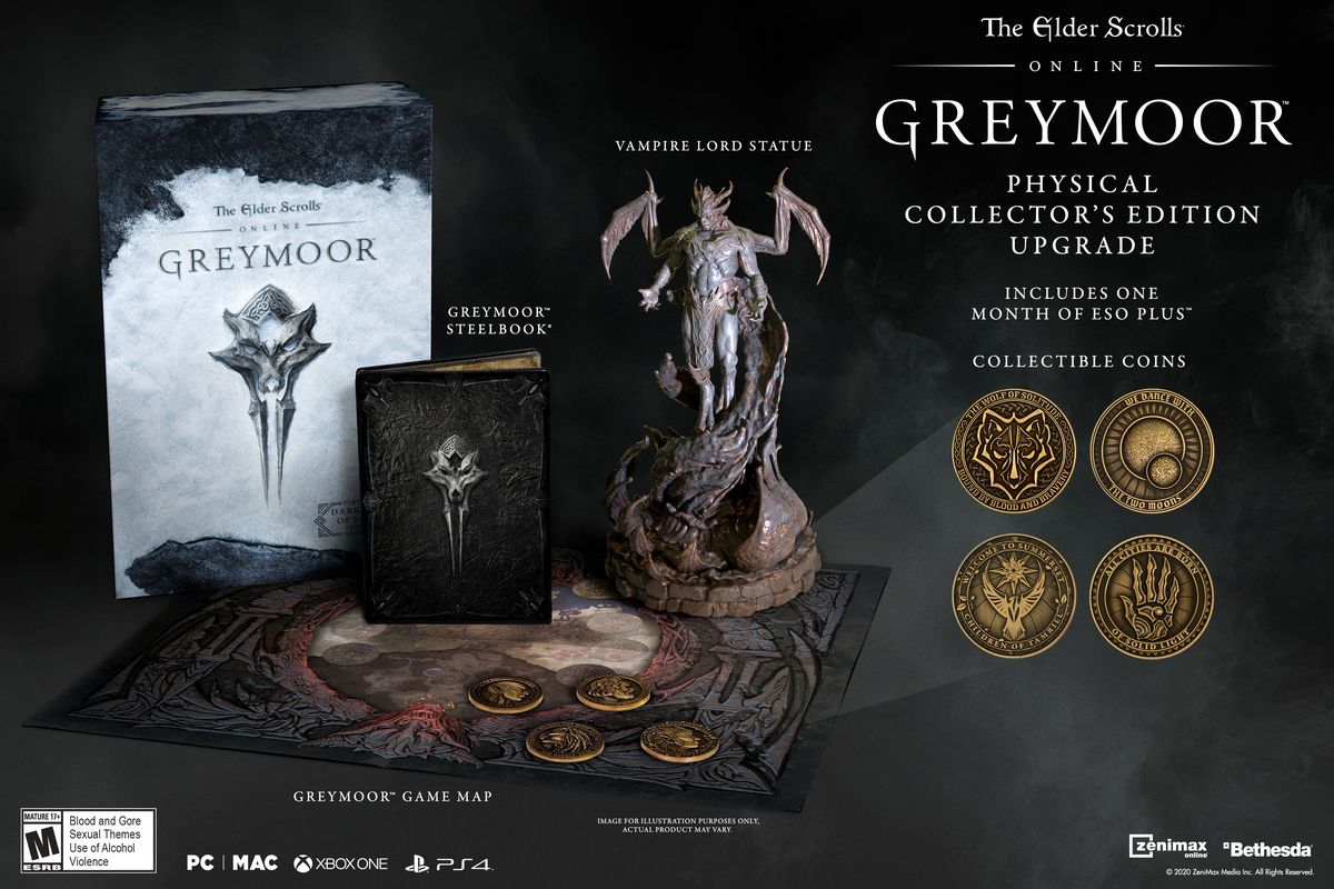 The collector's edition of Greymoor includes a replica Vampire Lord statue and four collectible coins from the world of Tamriel.