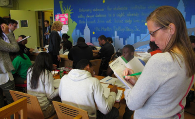 Inside a classroom at High School for Law and Finance, part of Chancellor Carmen Fariña's Learning Partners program.