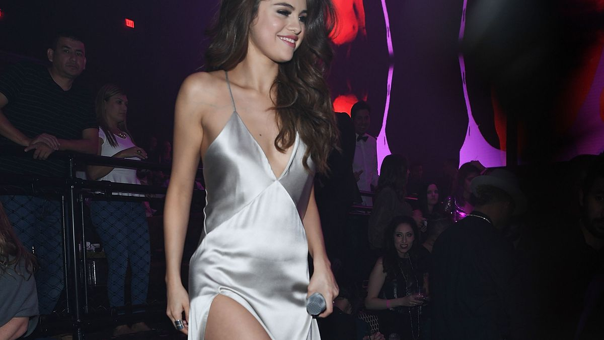 Selena Gomez wears a Galvan slip dress on May 6th, 2016.
