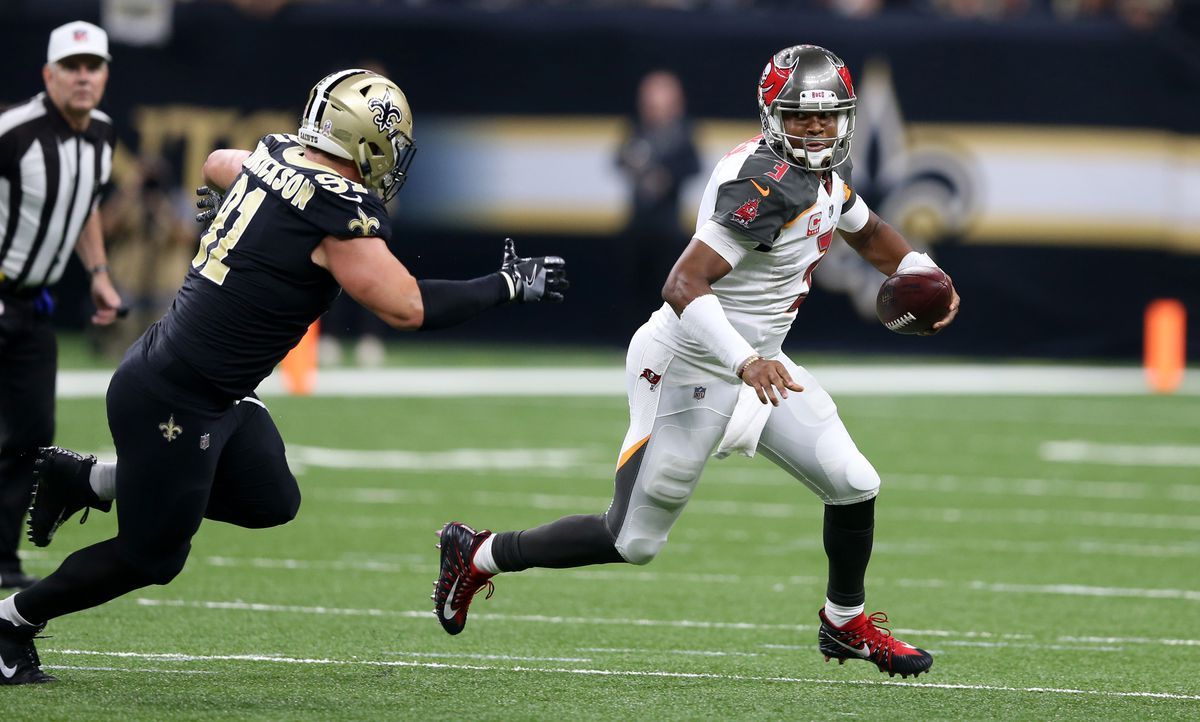 New Orleans, LA, USA; Tampa Bay Buccaneers quarterback Jameis Winston  (3) is pressured by New Orleans Saints defensive end Trey Hendrickson  (91) in the second quarter at the Mercedes-Benz Superdome.