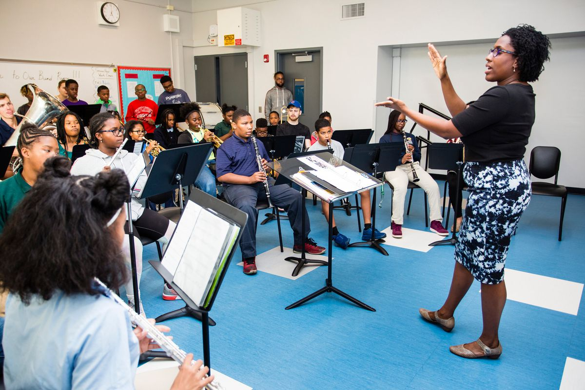Natalie Butler, dean of learning and teaching at the People's Music School, at the Bronzeville Classical School, Tuesday, September, 24th, 2019. | James Foster/For the Sun-Times
