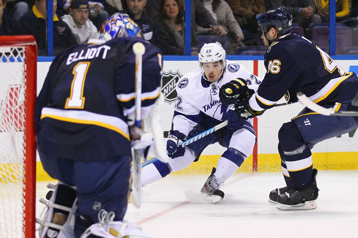 ST. LOUIS, MO - NOVEMBER 12:  Ryan Shannon #22 of the Tampa Bay Lightning takes a shot on goal against the St. Louis Blues at the Scottrade Center  on November 12, 2011 in St. Louis, Missouri.  (Photo by Dilip Vishwanat/Getty Images)