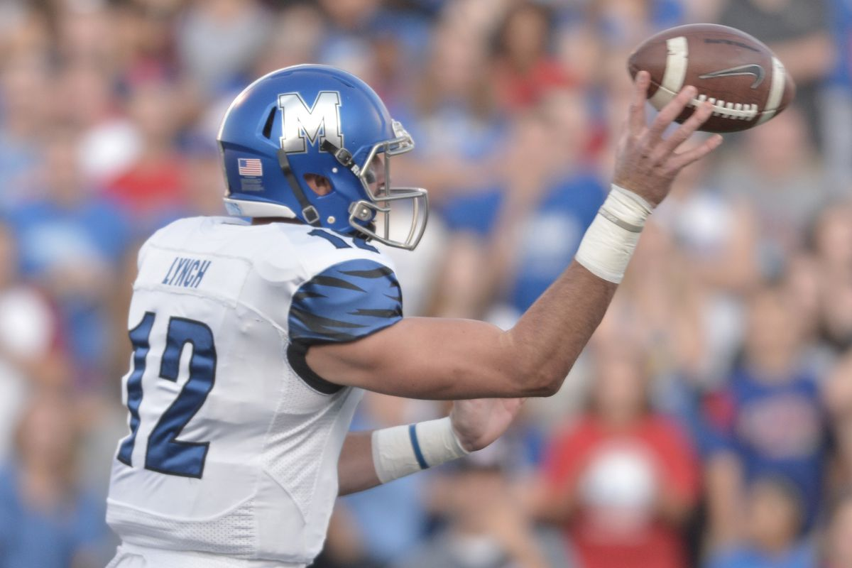 Memphis QB Paxton Lynch throws a pass in Saturday's win over Kansas. He did that a lot.
